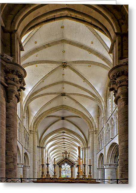Historic Architecture Greeting Cards - Brussels Cathedral  5934 Greeting Card by Karen Celella