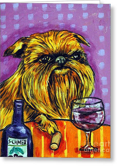 Vineyard Art Greeting Cards - Brussels Griffon at the Wine Bar Greeting Card by Jay  Schmetz