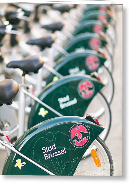 Brussel Greeting Cards - Brussels Rental Bikes Greeting Card by Clarence Holmes