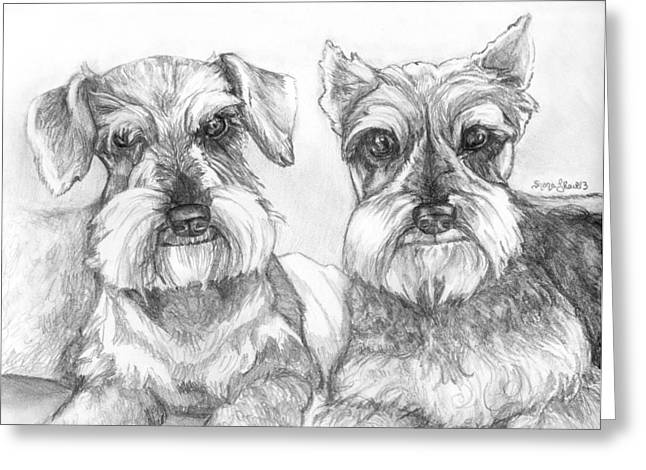 Eyebrow Greeting Cards - Brutus and Susie Greeting Card by Shana Rowe