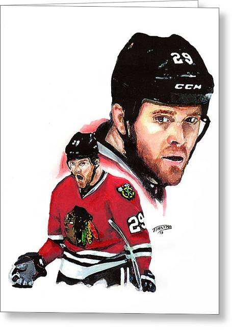 Bryan Bickell Greeting Card by Jerry Tibstra