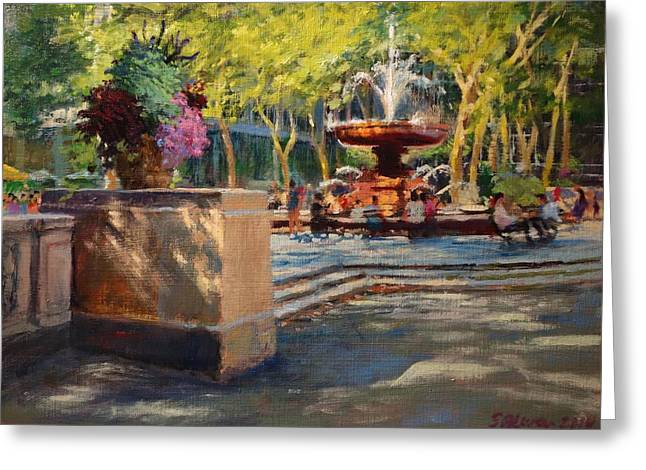 Bryant Paintings Greeting Cards - Bryant Park - Afternoon at the Fountain Terrace Greeting Card by Peter Salwen