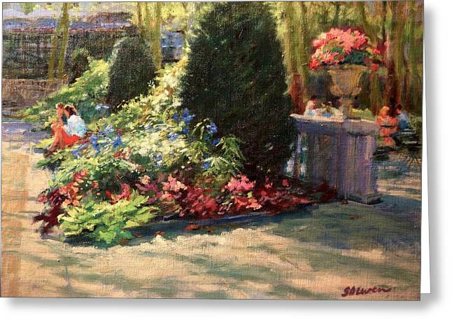 Bryant Paintings Greeting Cards - Bryant Park - Morning Light in the Garden Greeting Card by Peter Salwen