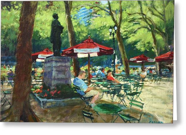 Bryant Paintings Greeting Cards - Bryant Park - The Reading Room Greeting Card by Peter Salwen