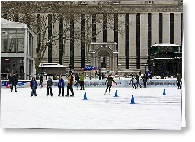 Bryant Greeting Cards - Bryant Park - Winter Village Greeting Card by James Connor