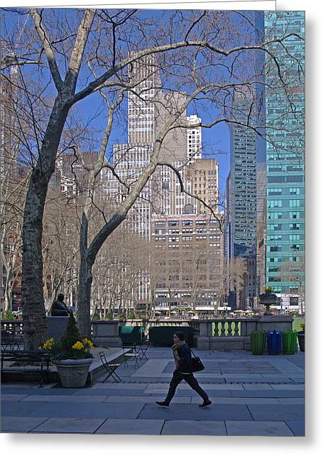 Bryant Greeting Cards - Bryant Park and Pedestrian Greeting Card by Rene Sheret