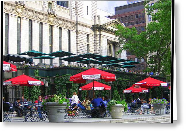 Bryant Greeting Cards - Bryant Park at Noon Greeting Card by  Photographic Art and Design by Dora Sofia Caputo