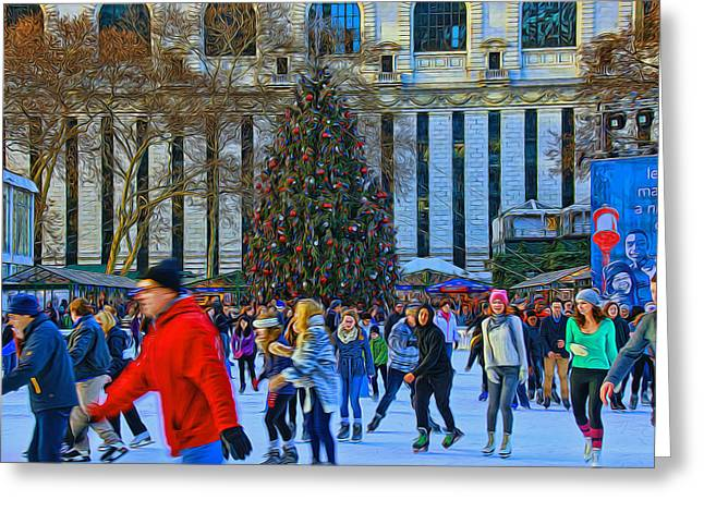 Bryant Park Christmas Tree Greeting Card by Allen Beatty
