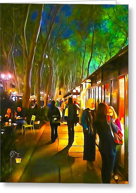 Bryant Park Greeting Cards - Bryant Park Evening Greeting Card by Richard Trahan
