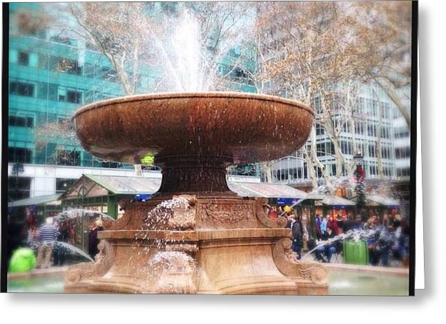 Bryant Greeting Cards - Bryant Park Fountain Greeting Card by Dawn DiCola