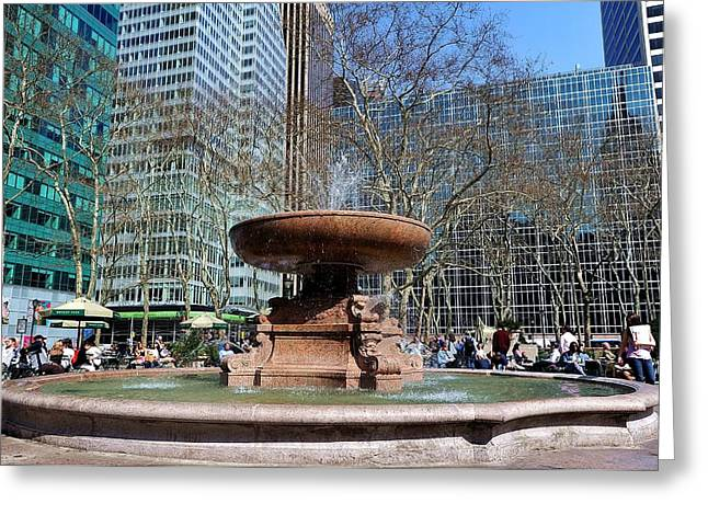 Bryant Greeting Cards - Bryant Park Fountain Greeting Card by Tony Ambrosio