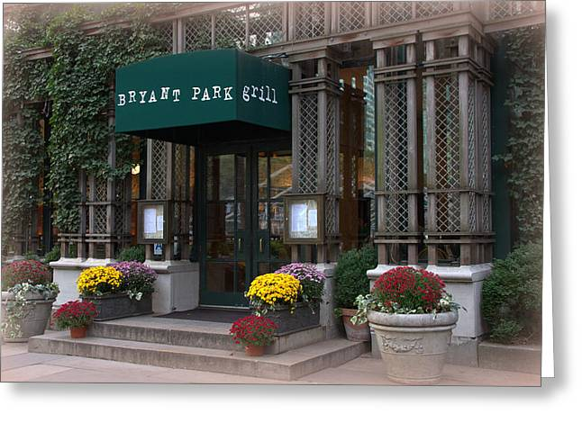 Bryant Greeting Cards - Bryant Park Grill Greeting Card by Pat Marzinsky