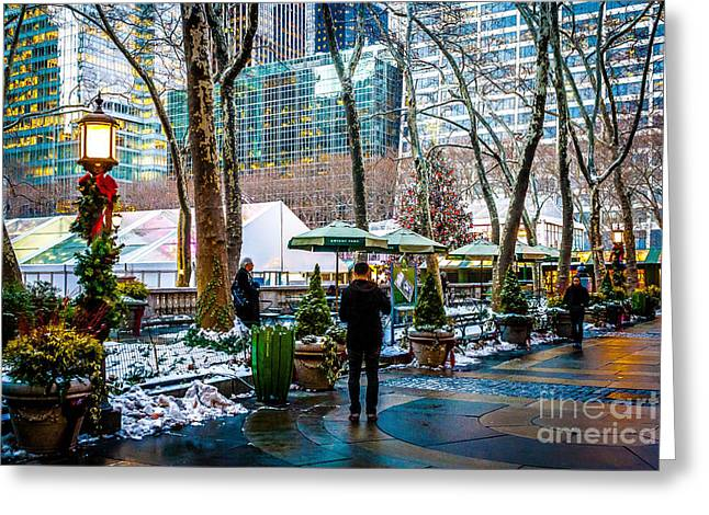 Bryant Greeting Cards - Bryant Park Holiday Greeting Card by Nicholas Santasier