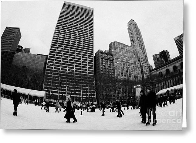 Distortion Greeting Cards - Bryant Park ice skating rink new york city nyc Greeting Card by Joe Fox