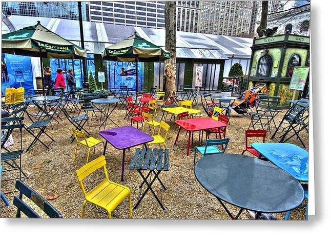 Bryant Greeting Cards - Bryant Park in Vivid Color Greeting Card by Laura Bode