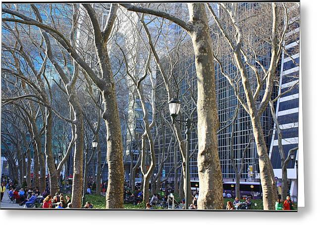 Bryant Greeting Cards - Bryant Park in Winter Greeting Card by  Photographic Art and Design by Dora Sofia Caputo