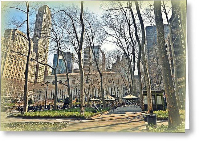 Bryant Park Greeting Cards - Bryant Park Library Gardens Greeting Card by Tony Ambrosio