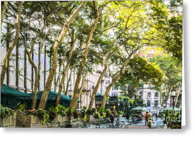 Bryant Greeting Cards - Bryant Park Midtown New York USA Greeting Card by Liz Leyden