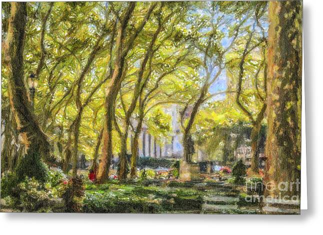 Bryant Greeting Cards - Bryant Park October Morning Greeting Card by Liz Leyden
