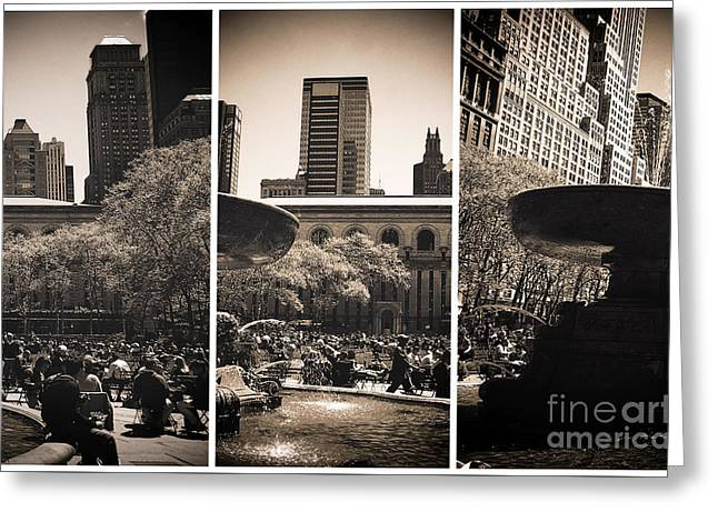 Bryant Park Photographs Greeting Cards - Bryant Park Panels Greeting Card by John Rizzuto