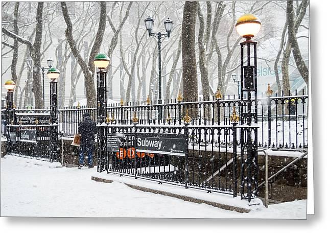 Bryant Greeting Cards - Bryant Park Subway Snow Greeting Card by Andrew Kazmierski