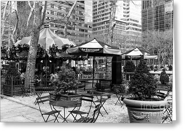 Bryant Greeting Cards - Bryant Park Tables mono Greeting Card by John Rizzuto