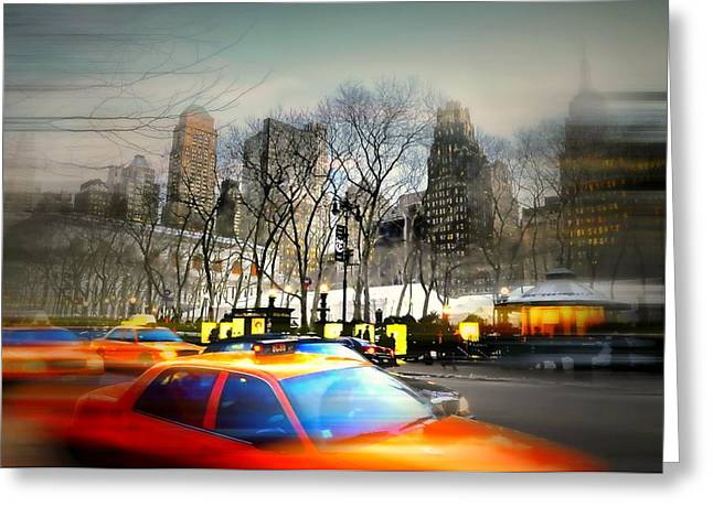 Bryant Park Photographs Greeting Cards - Bryant Park Taxi Greeting Card by Diana Angstadt