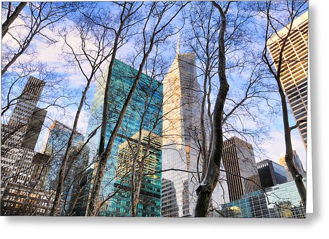 Bryant Greeting Cards - Bryant Park Tree Tops Greeting Card by Diana Angstadt