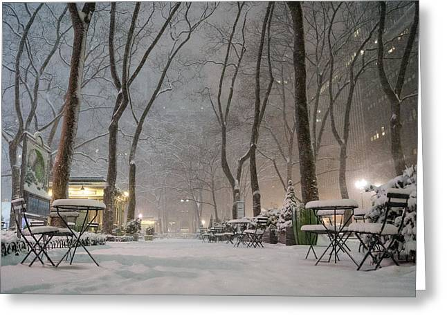 Blizzard New York Greeting Cards - Bryant Park - Winter Snow Wonderland - Greeting Card by Vivienne Gucwa