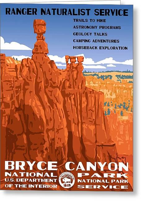 Utah Artwork Greeting Cards - Bryce Canyon National Park Vintage Poster 2 Greeting Card by Eric Glaser