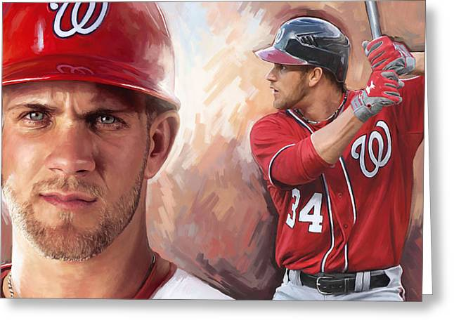 Baseball Print Greeting Cards - Bryce Harper Artwork Greeting Card by Sheraz A
