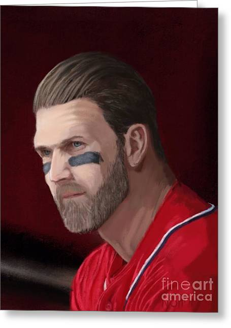 Washington Dc Baseball Greeting Cards - Bryce Harper Greeting Card by Jeremy Nash