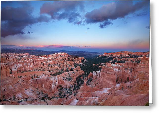 Moonrise Greeting Cards - Bryce Sunset Greeting Card by Darren  White