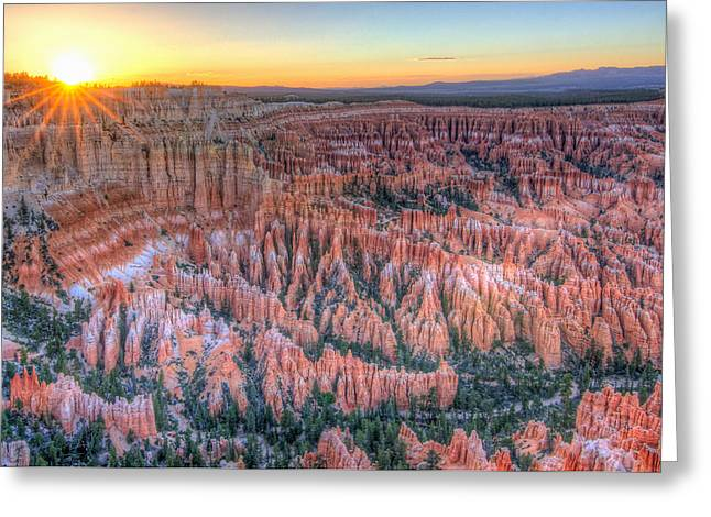 Inspiration Point Greeting Cards - Bryce Canyon Sunset Greeting Card by Ryan Moyer