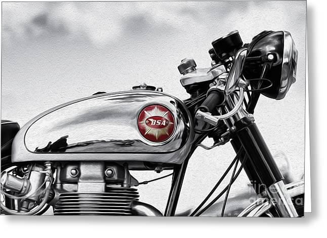 Motorcycle Digital Art Greeting Cards - BSA Goldstar Greeting Card by Tim Gainey