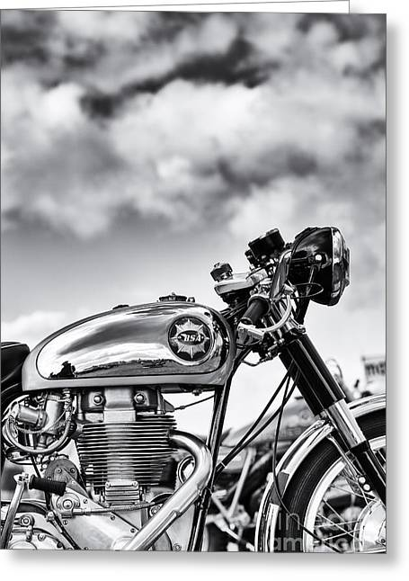 British Culture Greeting Cards - BSA Rocket Gold Star Monochrome Greeting Card by Tim Gainey