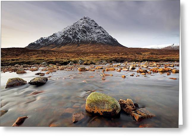 Snow-covered Landscape Greeting Cards - Buachaille Etive Mor  Greeting Card by Grant Glendinning