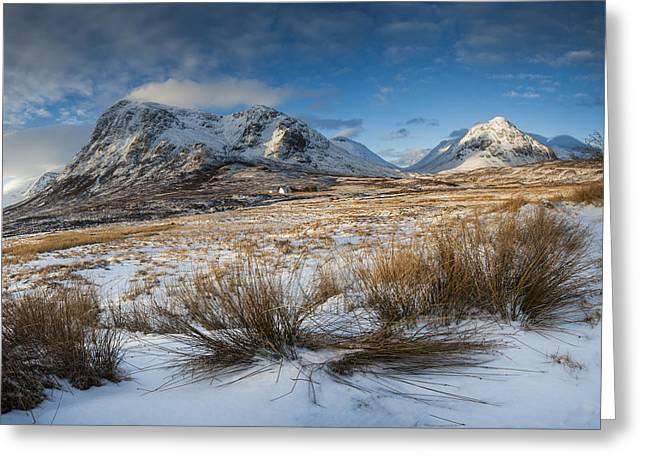 Glencoe Winter Landscape Greeting Cards - Buachaille Etive Mor winter landscape Glencoe Greeting Card by Nigel Forster