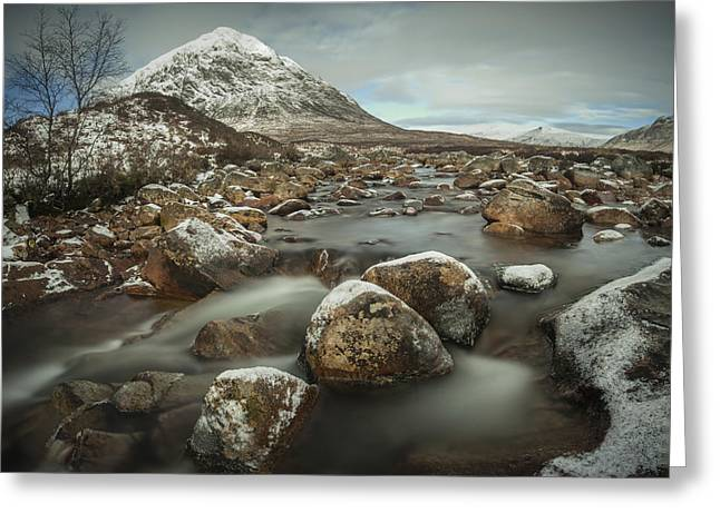 Glencoe Winter Landscape Greeting Cards - Buachaille Etive Mor winter waterfall Greeting Card by Nigel Forster