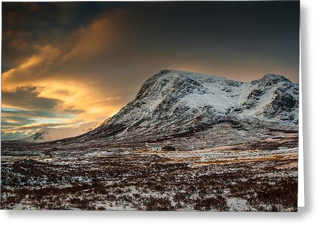 Glencoe Winter Landscape Greeting Cards - Buachialle Etive Mor Winter Glow Greeting Card by Nigel Forster