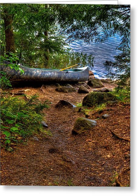 Canoe Photographs Greeting Cards - Bubb Lake Canoe Greeting Card by David Patterson