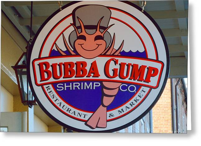 Local Food Greeting Cards - Bubba Gump Shrimp Sign Greeting Card by Alys Caviness-Gober
