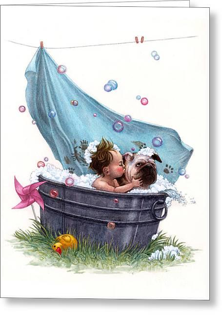 Bubble Bath Greeting Card by Isabella Kung