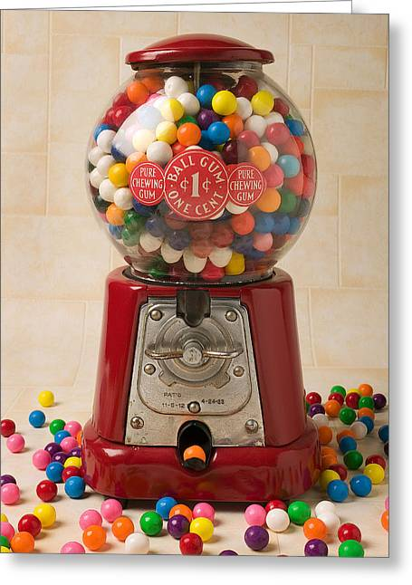 Operating Greeting Cards - Bubble gum machine Greeting Card by Garry Gay