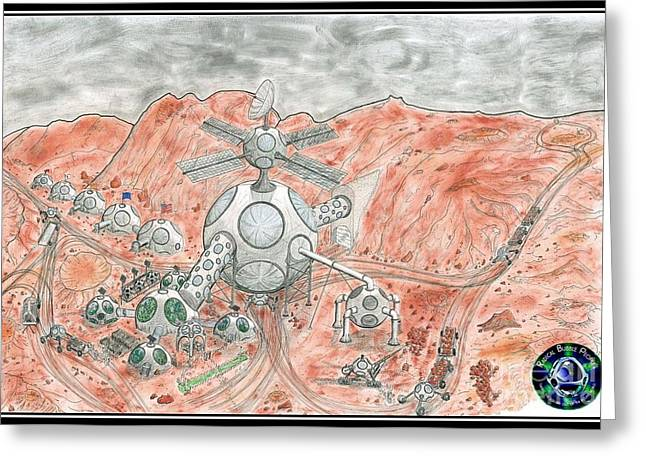 Outerspace Drawings Greeting Cards - Bubble Mine Greeting Card by Radical Bubble Studios