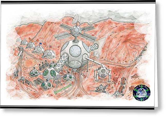 Outerspace Drawings Greeting Cards - Bubble Mine with clouds Greeting Card by Radical Bubble Studios