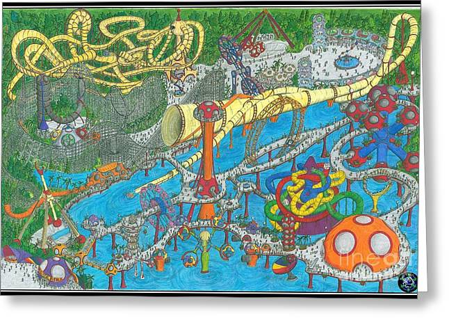 Amusements Drawings Greeting Cards - Bubble Park Greeting Card by Radical Bubble Studios