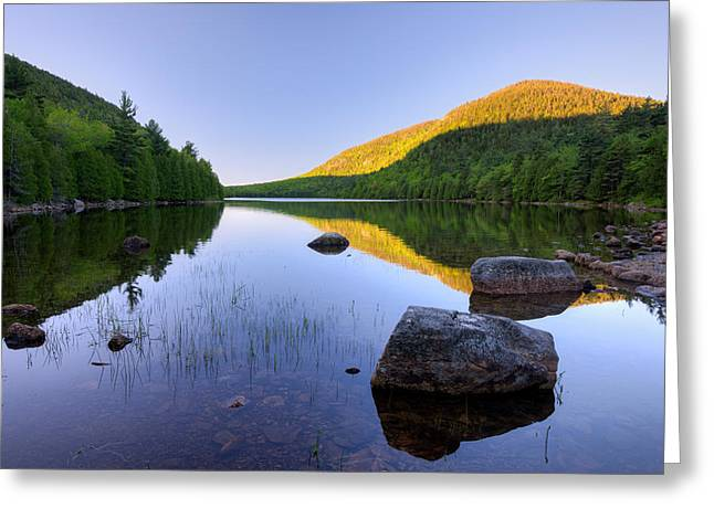 Pond Photography Greeting Cards - Bubble Pond At Dawn, Acadia National Greeting Card by Panoramic Images