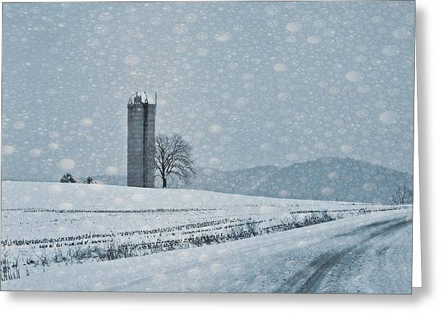 Winter Roads Mixed Media Greeting Cards - Bubble Snow Greeting Card by Trish Tritz