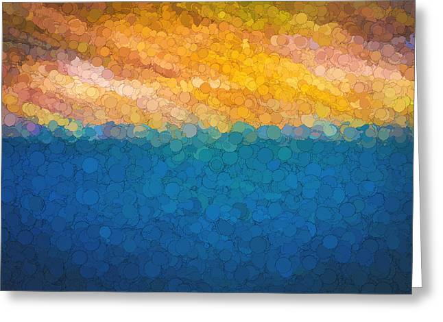 Abstract Digital Photographs Greeting Cards - Bubble Sunrise Abstract Digital Painting Greeting Card by Rich Franco